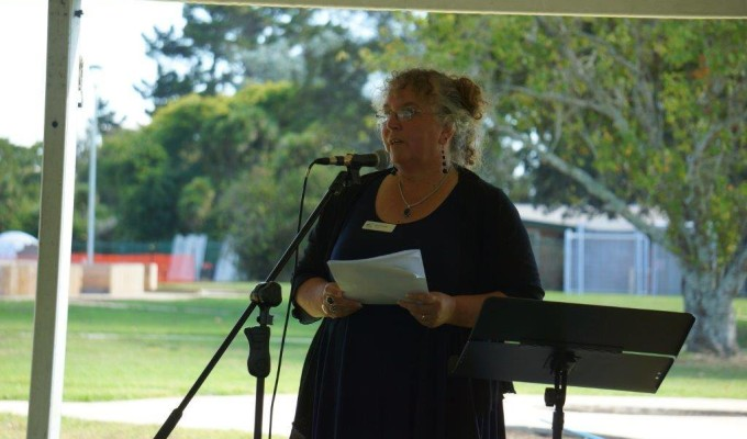 Principal Karen Stobbs speaks at the 50th birthday celebrations