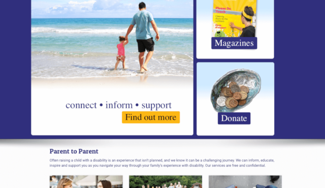 Front page of Parent to Parent website